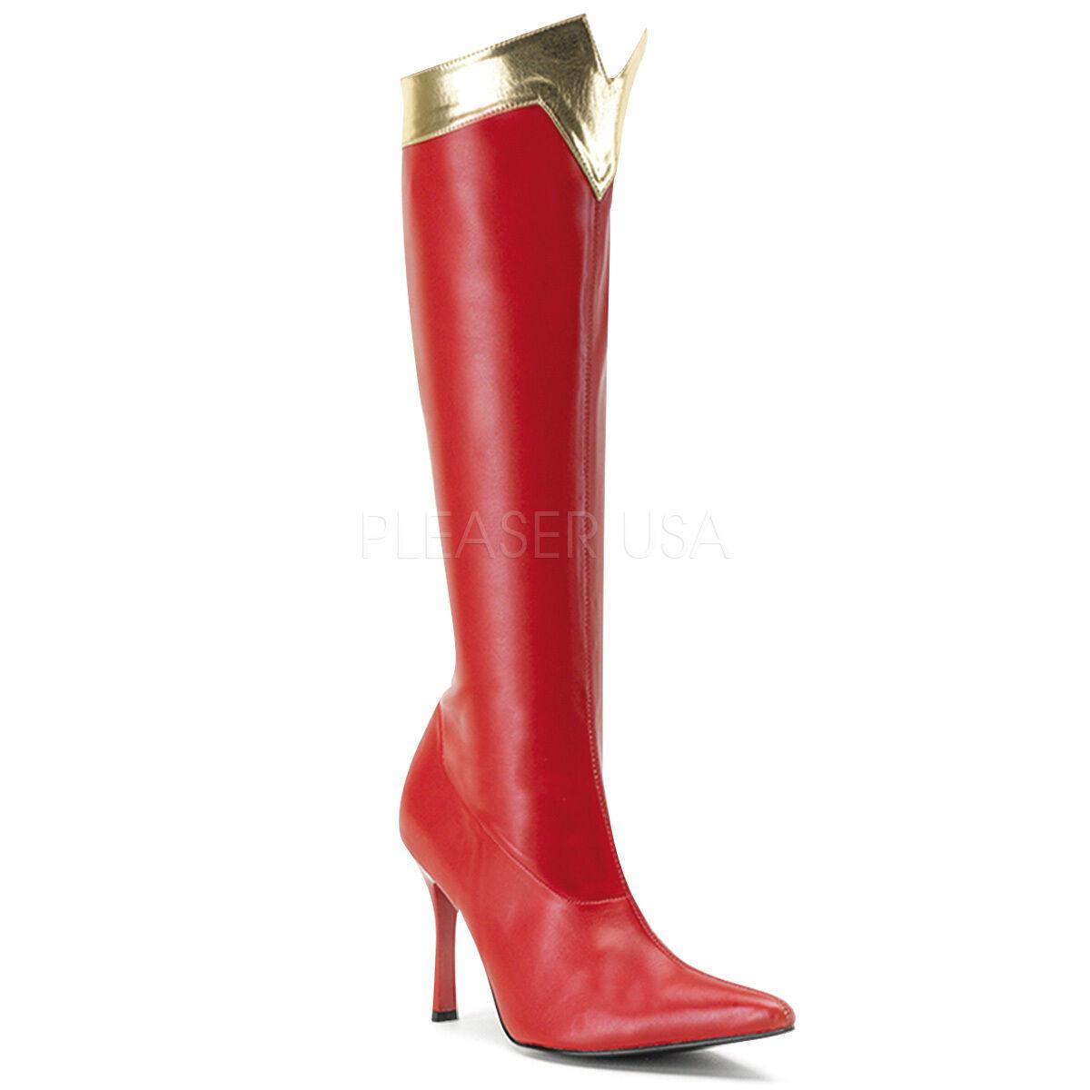 PLEASER FUNTASMA Wonder-130 ROT/Gold Stretch Fancy Dress Wonder Woman Knee Stiefel