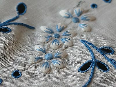 Vtg Antique Hand Embroidered Linen Floral Tablecloth Topper Doily Blue White