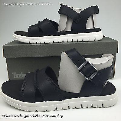 Das Beste Timberland Piermont Sandals Mens Backstrap Open Toe Black Premium Leather Rrp£75 Weniger Teuer