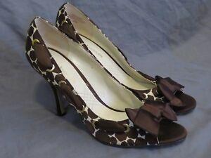New-Enzo-Angiolini-Aebardane-Peep-Toe-High-Heels-Espresso-Brown-Fabric-Bow-9-5
