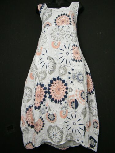 Grande taille Lagenlook 100/% Lin Italien Robe d/'été 13 cols 2 poches Taille 16-22