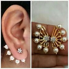 Latest Indian Bollywood Designer 18K AD Pearl Earrings 2 Pc Gift Set