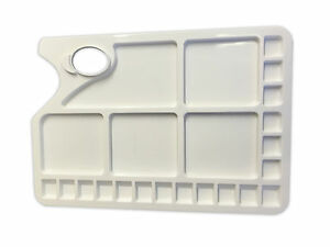 Plastic-Rectangular-Artist-Paint-Palette-with-Thumb-Hole-23-Mixing-Wells