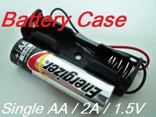 2A 1.5V w// 6/'/' Leads wire 2 Lot Battery Box Holder Batteries Case for Single AA