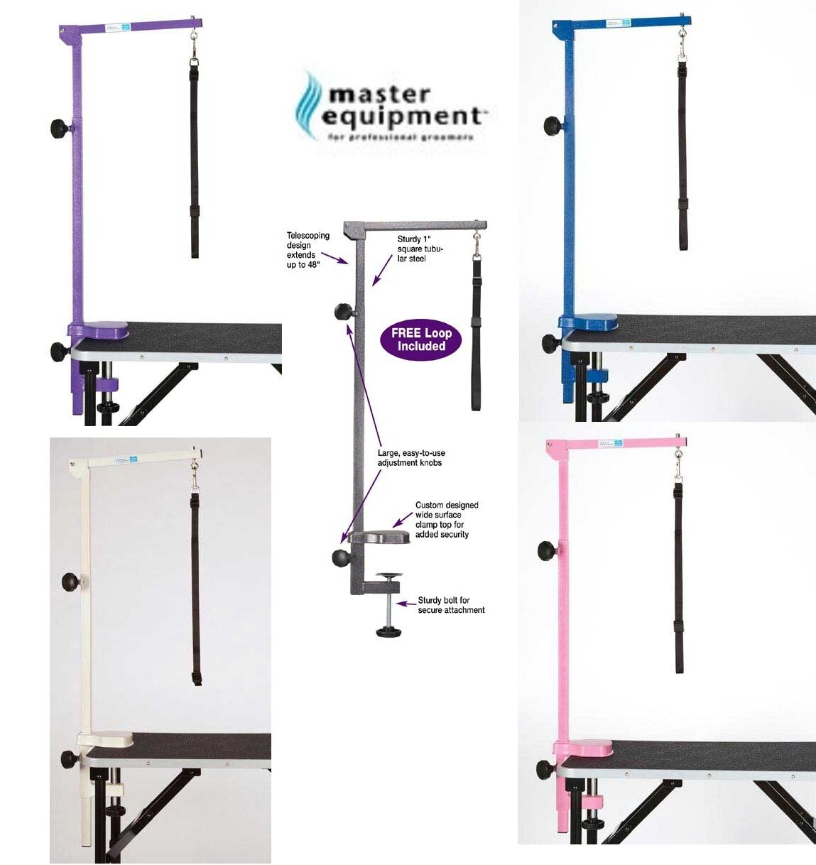 MASTER EQUIPMENT FOLDABLE Adjustable ARM,CLAMP&LOOP for Pet Dog GROOMING TABLE