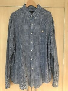 Ralph-Lauren-Blue-Gingham-Linen-Long-Sleeved-Shirt-Size-XXL