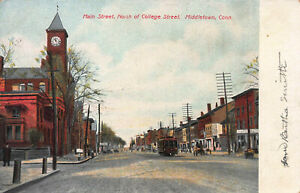 Main-Street-North-of-College-St-Middletown-CT-Early-Postcard-Unused
