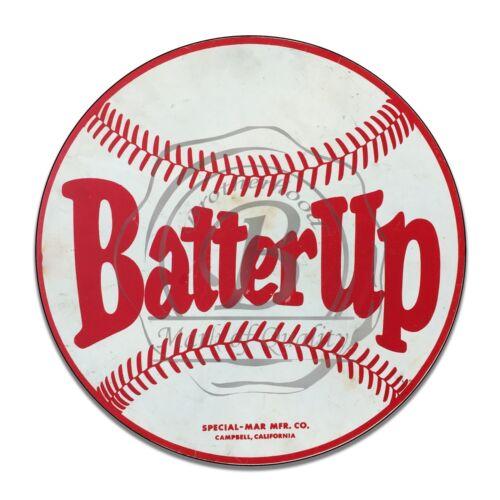 Vintage Baseball Field Batter Up Reproduction Circle Aluminum Sign