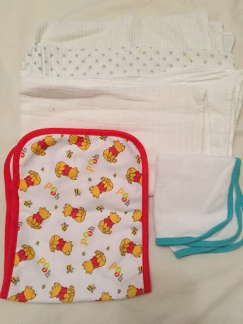 3 Baby Muslins 1 Flannel 1 Mop Up Cloth