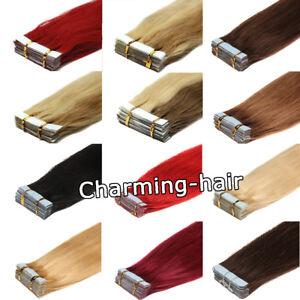 Extensions-De-Cheveux-Tape-Rubans-en-Adhesif-Cheveux-naturels-REMY-40-60cm-Trame