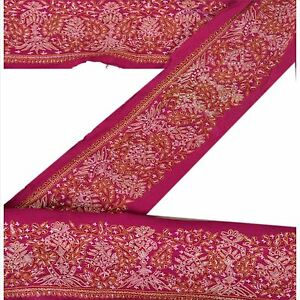 Trim & Edging Just Sanskriti Vintage Sari Border Craft Pink Trim Hand Embroidered Sewing Decor Lace Lustrous