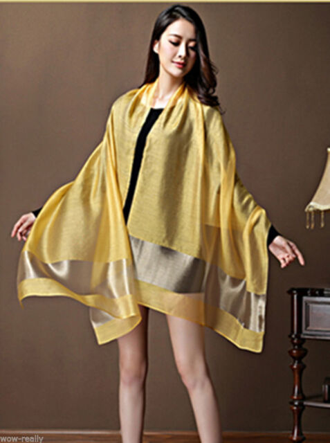 Fashion Women's Thai Silk 100% Silk Yellow Neck Scarf Shawl Wrap New