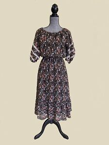 Vintage-70s-Floral-Lace-Prairie-Dress-Midi-Folk-Balloon-Sleeves-Cotton-Boho