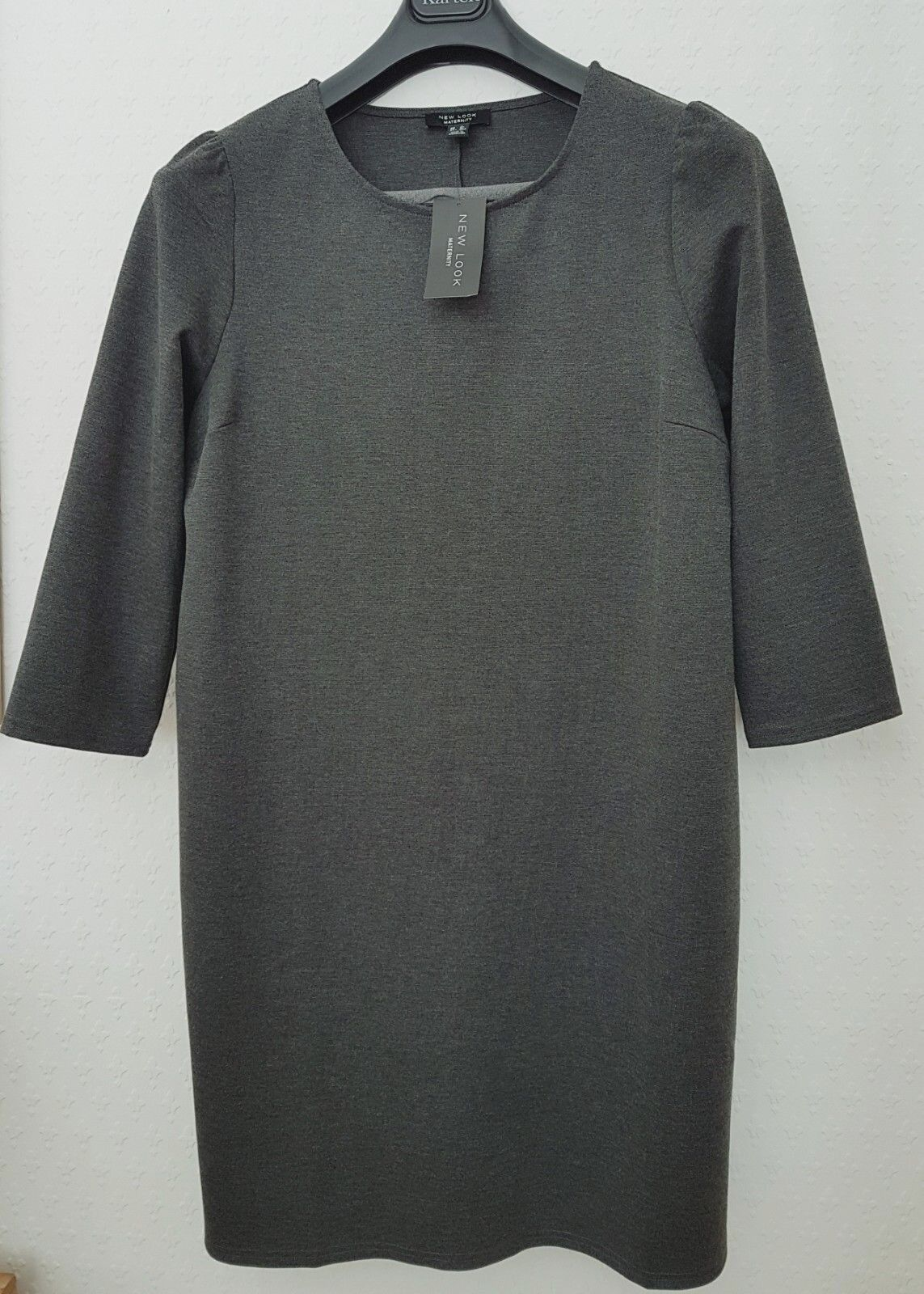 NEW LOOK STRETCHY GREY SPACEDYE PONTE 3 4 SLEEVE FITTED DRESS 16