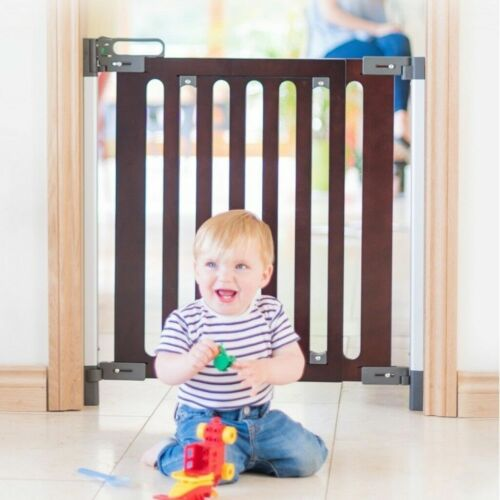 Dark Oak Panel Fred Screw Fit Wooden Baby Stair Gate Dark Grey Fittings