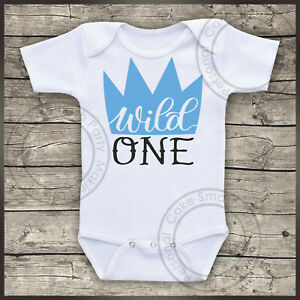 85e4e59ff Personalised Bodysuit Baby Boys 1st Birthday Day Wild One Cake Smash ...