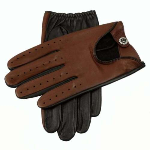 Dents Woburn Men's Leather Driving Gloves Black/Highway Tan Heritage Collection