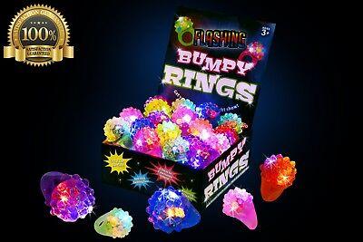 24 Pack Dazzling Toys Flashing LED Light Up Toys Bumpy Rings