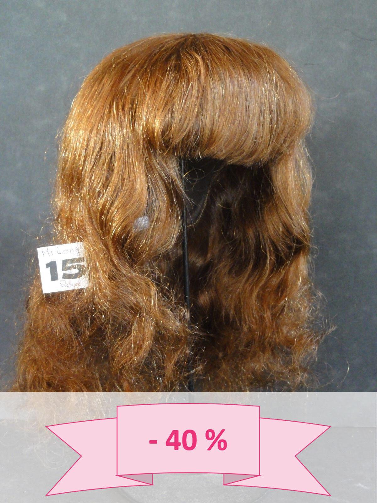 -40% PROMO PERRUQUE de POUPEE T15 (46.5 cm) 100% cheveux mi-long Chatain-roux