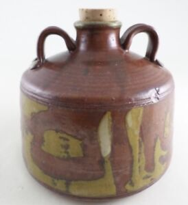 "1977 Vintage Studio Art Pottery Double Handled Jug Vase - 6"" Diameter - Signed"