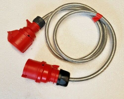2M 32a Plug to 16a Socket RED 5 PIN   4mm SY Braided ADAPTER CABLE