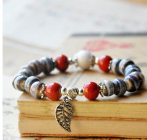Ceramic-Bead-Silver-Leaf-Charm-Elastic-Bracelet