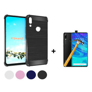 Cover-Case-TPU-Silicone-Fiber-Carbon-Huawei-P-Smart-Z-P-Glass-Tempered