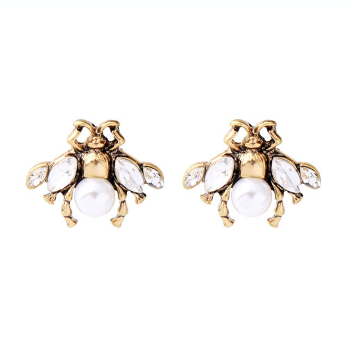 ed01480b-2 New Bee Insect Stud Earrings Antique Gold Fashion Jewelry For Girls