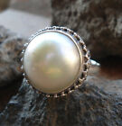 925 Sterling Silver-LH104-Balinese Handcrafted Ring White Mabe Pearl Size 7