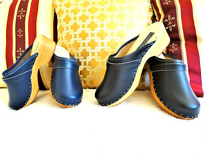Schwarz, Marine, Clogs Schuhe Holzclogs Damen Pantoletten Leder Made In Poland