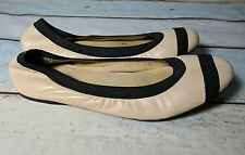 STUART WEITZMAN Women's Ballet Flats Shoes Nude With Black Trim Size 9.5 M