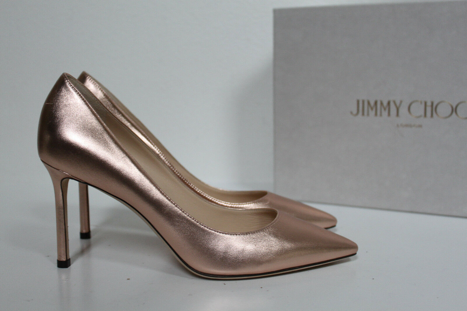 New sz 9   39 Jimmy Choo Romy pink Metallic Leather Pointed Toe Pump shoes