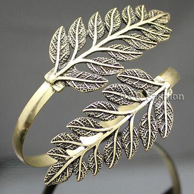Vintage Gold Ornate 2 Branch Leaf Arm Cuff Armlet Armband Bangle Bracelet Cuff