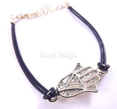 Hamsa Black String Gold Bracelet Evil Eye Charm Kabbalah Hand Of Fatima Judaica