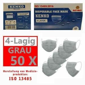 50 Stück ISO NORM Zeichen Schutz-Masken Mundschutz-Maske 4 Lagig Einwegmaske