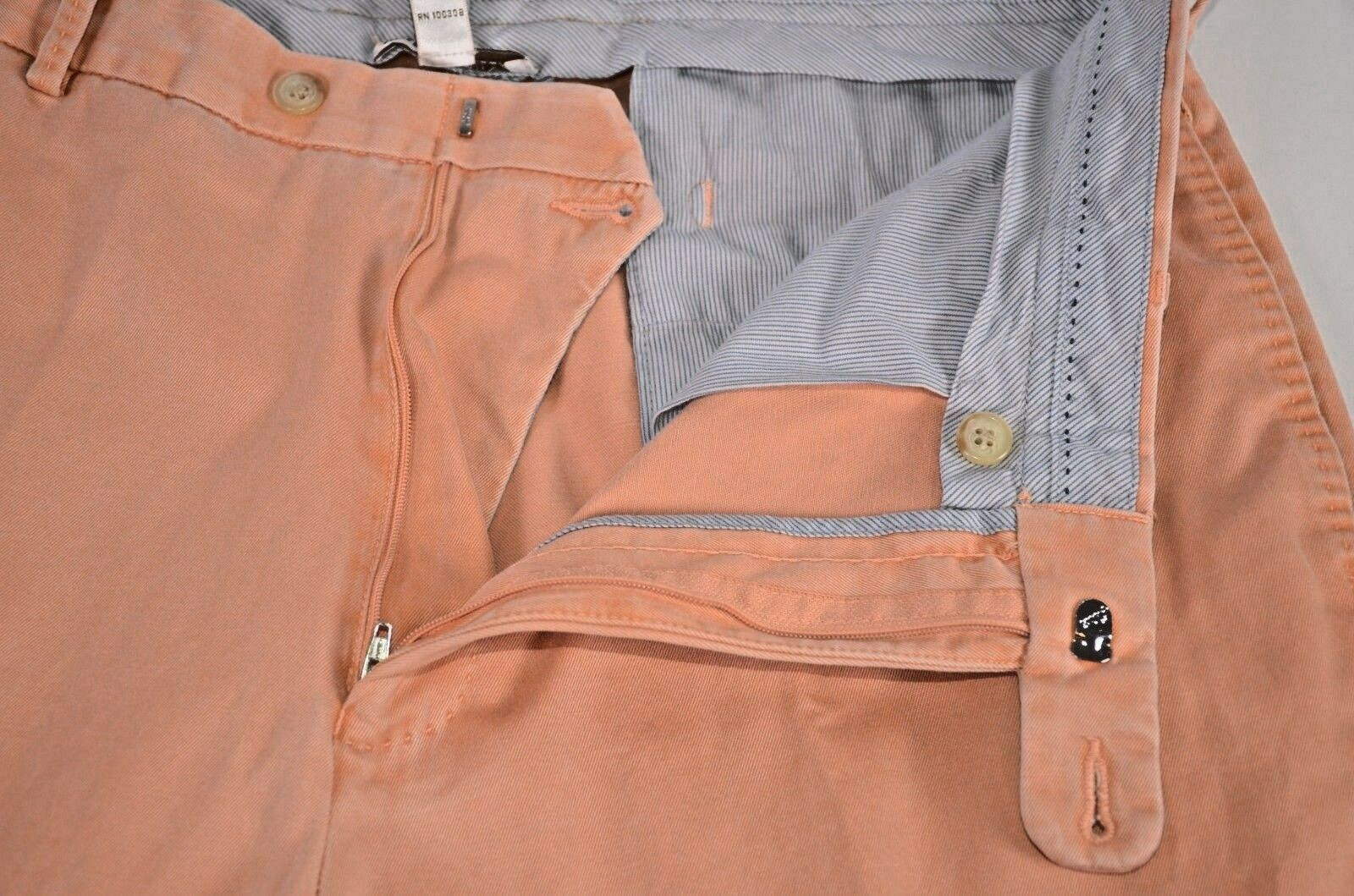 Peter Millar Men's Pants Size 36 Cotton Light Peach Flat Front Casual Trousers