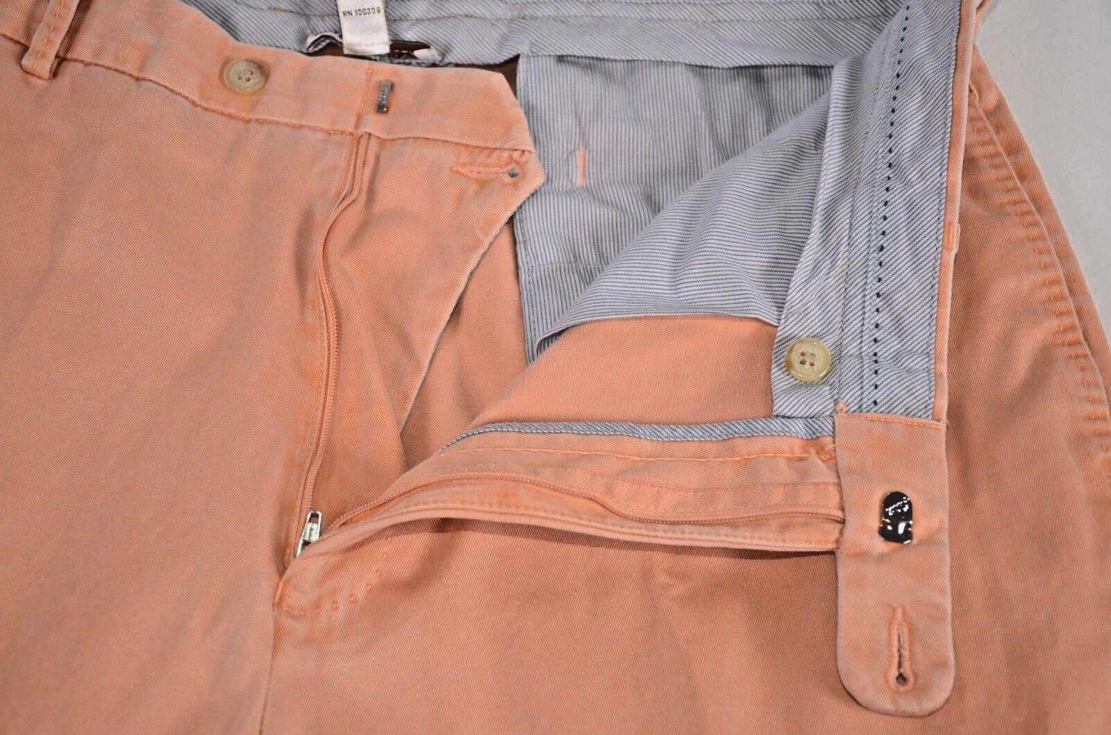 Peter Millar Men's Pants Size 36 Cotton Light Peach Flat Front Casual Trousers