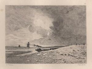 Jules-Hereau-Plage-d-039-Honfleur-Marine-Eau-Forte-Gaucherel-XIXe