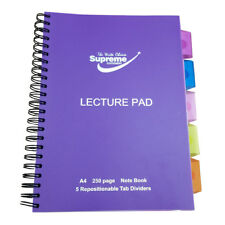 A4 Classic 5 Repositionable Tab Dividers Lecture Spiral Book Pad 240 Pages