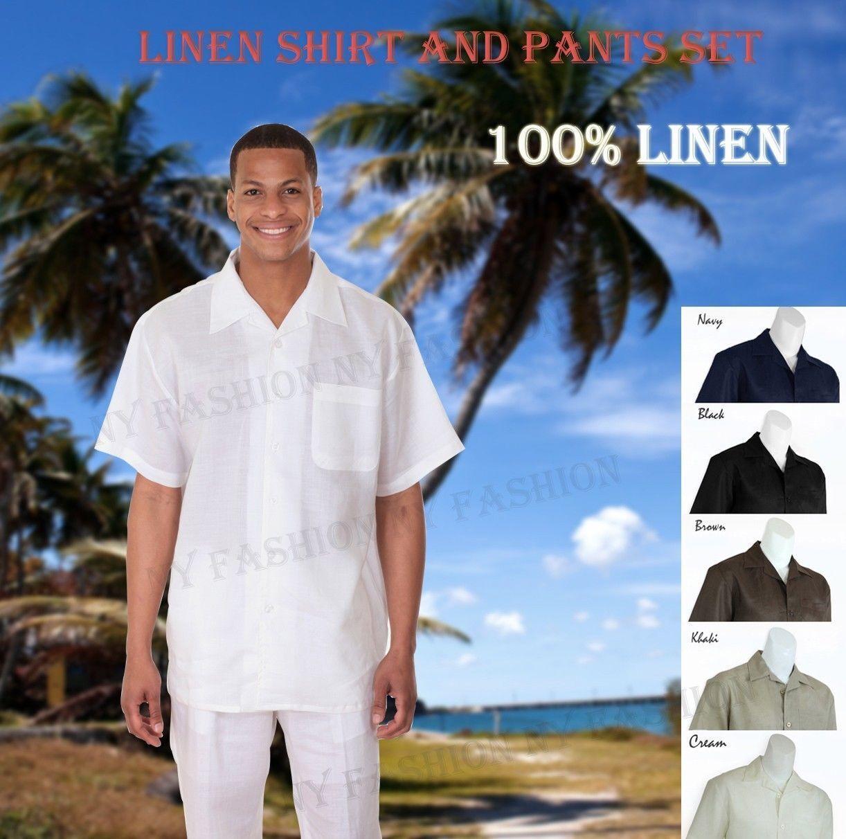New Men's 2 PC Luxury Linen Set Casual  Walking Suit Set M2806L