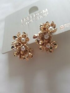 Freedom At Topshop Gold And Pearl Pretty Small Flower Gem Earrings