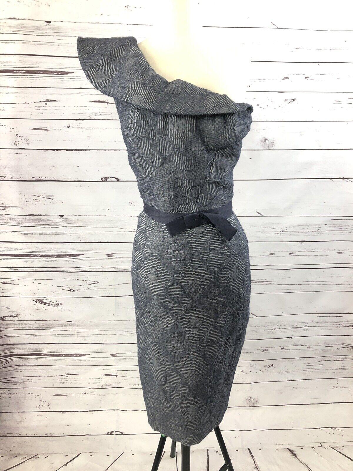 Lela Rose Sz 8 coton bleu marine & Soie Robe épaule nue
