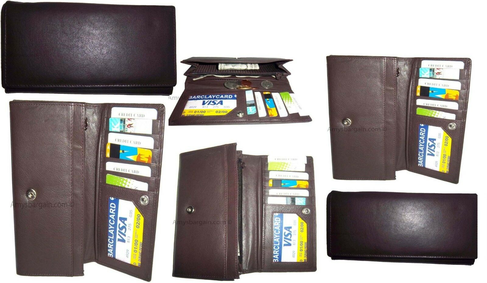 Lot of 6 New Women's checkbook wallet, Brown leather Ladies checkbook wallet NWT