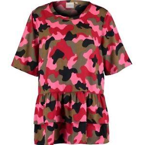 JUNAROSE-Green-amp-Pink-Camo-Blouse-UK-20-EU-46-US-16
