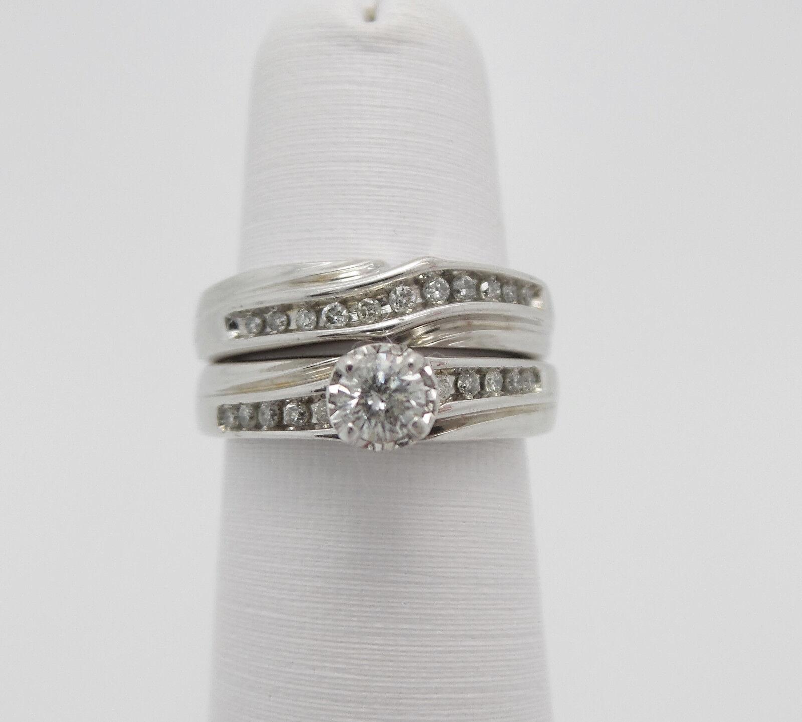 Zales 5 8CT Diamond Engagement Wedding Ring Set 14K White Gold Bridal Set