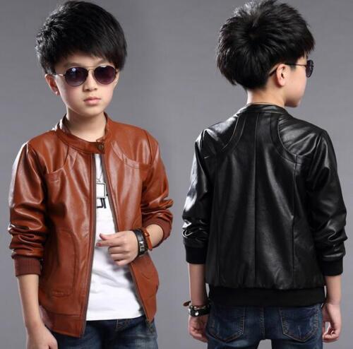 Kids boys spring new leather PU jacket children autumn Jacket