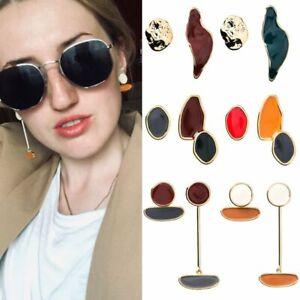 Colorful-Enamel-Irregular-Geometric-Asymmetric-Earrings-Oval-Round-Stud-Women
