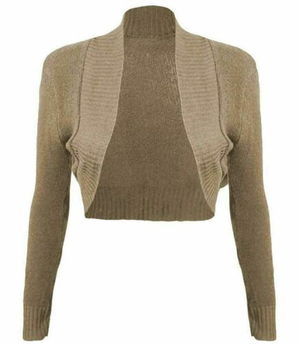 Womens Ribbed Bolero Knitted Open Front Shrug Ladies Long Sleeve Crop Cardigan