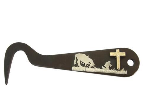 Horse Hoof Pick Solid Steel Antique Brown Color Silver Engraving Stable Grooming