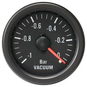 100% Made in Taiwan 52 mm Black Rim Mechanical Auto Vacuum Gauge (BAR)